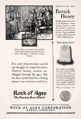 1927-ad-rock-ages-barre-vermont-patrick-henry-gravestone-charlotte-virginia-original-print-ad