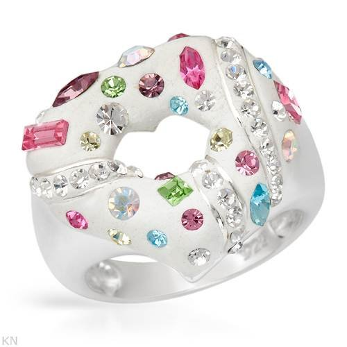 Ring With Genuine Crystals Beautifully Designed in White Enamel and 925 Sterling silver. Total item weight 8.3g (Size 8)