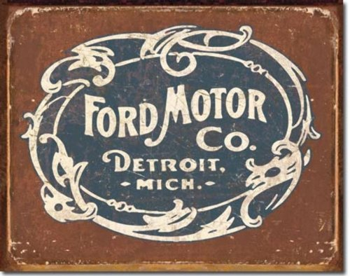 "Ford Historic Logo Metal Tin Sign 16"" X 12.5"""