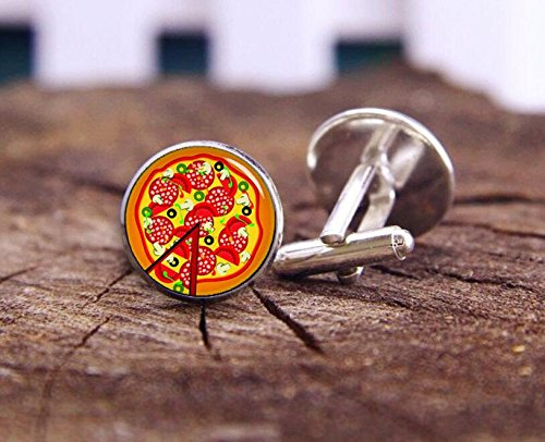 [Pizza Cuff Links, Food Cufflinks, Fine Food Cufflinks, Wedding Cufflinks, Personalized Cuff Links, Groom] (Master Chief Suit For Sale)