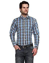 Ausy Blue Cotton Blend Mens's Shirt