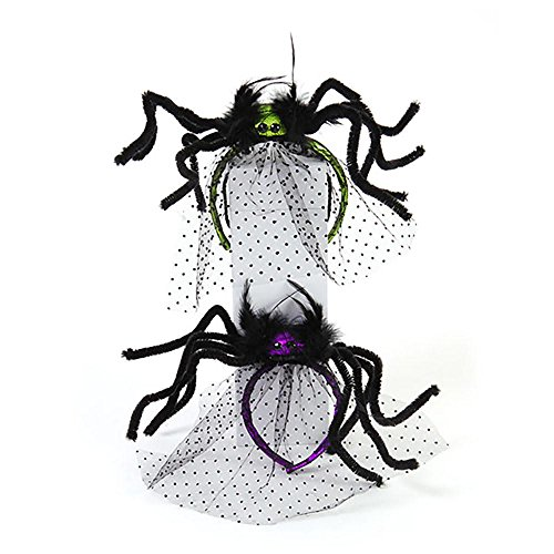 [Halloween Costume Spider Headband with Tulle Veil - 2 Pack - Purple and Green] (Cheap Maternity Halloween Costumes)