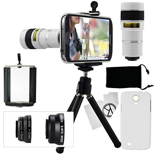 Kit obiettivi per fotocamera per Samsung Galaxy S4 include Lente 8x per teleobiettivo / Obiettivo fisheye / Obiettivo 2 in 1 Macro e grandangolo / Mini cavalletto / Supporto universale / Custodia rigida per Samsung Galaxy S4 / Borsa portacellulare in velluto / Panno per pulire in microfibra CamKix - Fantastici accessori per la fotocamera del tuo Samsung Galaxy S4