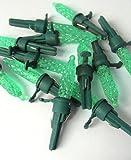 Pack of 12 Green LED M5 Mini Replacement Christmas Light Bulbs - Green Husk