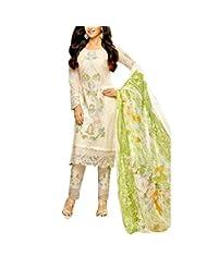 CrazeVilla Women White Color Embriodered Georgette Embriod Salwar Suit