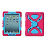 Hot Newest Ipad 2/3/4 Case Silicone Plastic Kid Proof Extreme Duty Dual Protective Back Cover with Kickstand and Sticker for Ipad 4/3/2 - Rainproof Sandproof Dust-proof Shockproof (Pink/Blue)