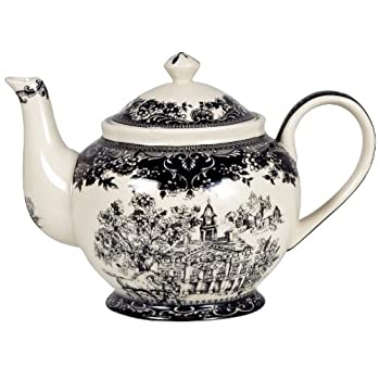 Black Toile Teapot