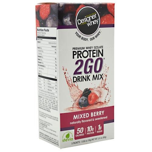Designer Whey Protein 2Go Drink Mix Mixed Berry -- 5 Packets