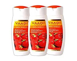 Vaadi Herbals Strawberry Scrub Lotion with Walnut Grains, 3 x 110ml