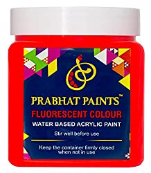 Prabhat Paints Acrylic Fluorescent Paint (500 g, Matt Red,Glows only under UV Tube Light or UV Bulb) (Water based paint)