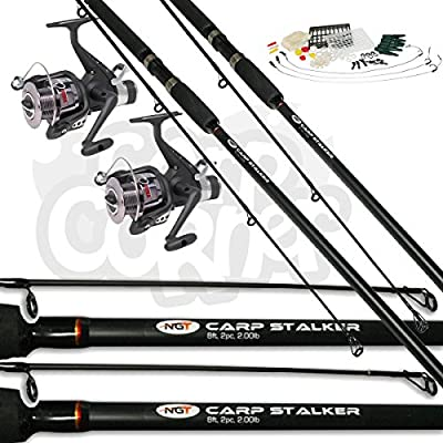 2x Black Carp Fishing Stalker 8ft 2lbTC Rods & Reels Set Up With FREE TACKLE SET by Carp Corner