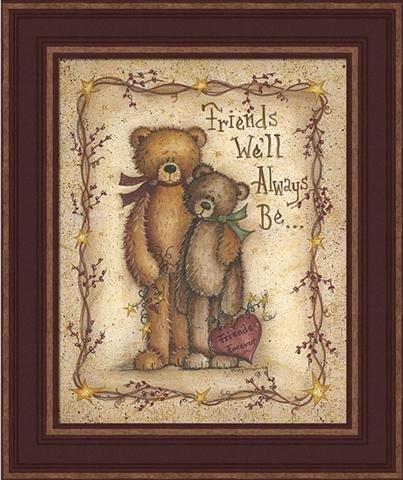 Friends Forever-Teddy Bear-Sheep-Vine-Star-Framed