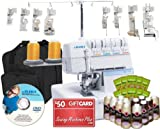 Juki MO-735 5-Thread Serger with BONUS I WANT IT ALL PACKAGE! Includes: 8 Piece Foot Kit, Serger Tote. 12 Thread Cones, 100 Needles, Instructional DVD!