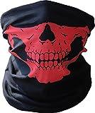 Diageng Black Seamless Skull Face Tube Mask BUFF-Thin Red