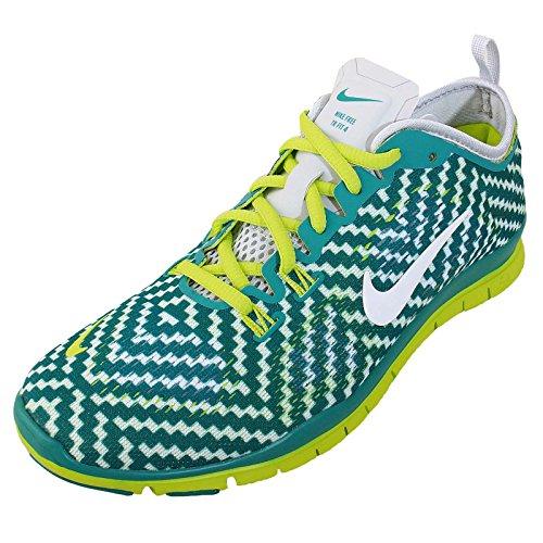 Nike Women's Free 5.0 Tr Fit 4 Prt Trb Grn/White/Vnm Grn/Pr Pltnm Training Shoe 7.5 Women US