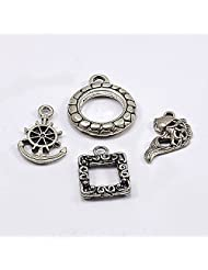 Silvesto India Fish, Round, Square & Anchor Shape Pendant Charm 4 Pcs Silver Plated Jewelry US 19899