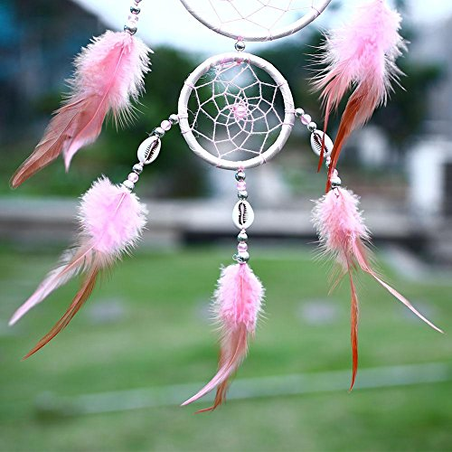 Soledi Dream Catcher Wall Hanging Ornament India Style Car Handmade Pink Dream Catcher Circular Net With Feathers Decoration Decor Ornament Craft Gift Shell