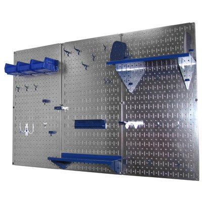 Wall Control 4ft Metal Pegboard Standard Tool Storage Kit - Galvanized Metallic Toolboard & Blue Accessories