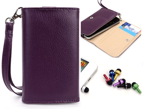 Lg Revere Mobile Phone Wallet Purple Clutch Carrying Cover Case Pouch With Bonus Mini Stylus Earphone Plug (Color & Style May Vary) + Envydeal Velcro Cable Tie