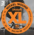 D'Addario EXL110-3D Nickel Wound Electric Guitar Strings, Regular Light, 10-46, 3 Sets from D'Addario &Co. Inc