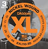 DAddario EXL110-3D Nickel Wound Electric Guitar Strings, Regular Light, 10-46, 3 Sets