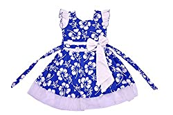 Kilkari Kid's Cotton Puff Sleeve Frock_Blue_3-4 YRS
