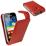 IGadgitz Leather Case Cover Holder with Screen Protector for Samsung Galaxy Ace Plus S7500 - Red