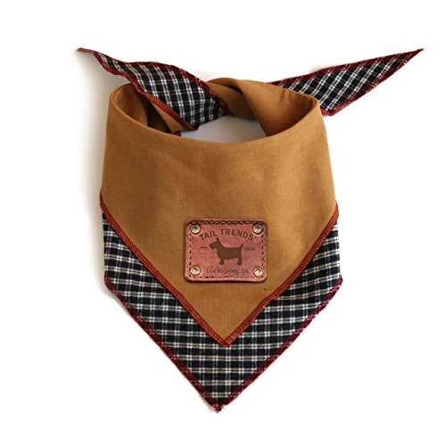 Tail Trends Reversible Dog Bandana with Leather Patch Fits Most Medium to Large Breeds, Tan (Large)