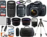 Canon EOS Rebel T5 18MP EF-S Digital SLR Camera + EF-S 18-55mm IS II & 75-300mm III Zoom Lens + 58mm Telephoto & Wide Angle Lenses + Flash + Battery + Filter Kit with SanDisk 48GB Accessories Bundle