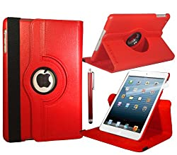 Red Apple iPad Mini Leather Smart Case with 360° Degree Rotating Swivel Action for Portrait and Landscape Orientation with Free Screen Protector and Stylus Touch Pen by Stuff4®