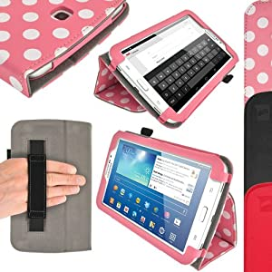 """iGadgitz """"Vintage Collection"""" Folio Pink with White Polka Dots PU Leather Case Cover for Samsung Galaxy Tab 3 7.0"""" SM-T210 with Multi-Angle Viewing Stand + Hand Strap + Screen Protector"""