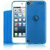 Kolay® iPod Touch 5G Hülle Silikonhülle Case Schutzhülle in Blau + Schutzsocke & Displayschutzfolie für den neuen Apple iPod touch 5G (5. Generation 32GB 64GB neustes Modell)