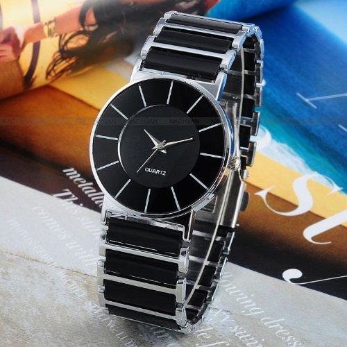 AMPM24 Fashion Women Lady Mens Silver Black Sport Quartz Wrist Watch Cool