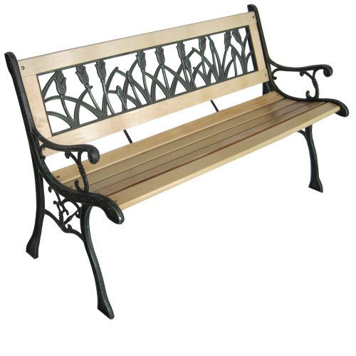 miadomodo GRTB01-2 3 Seater Wooden Outdoor Garden Bench With Tulip Design