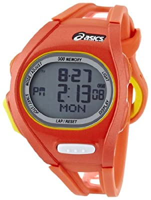Asics Unisex Race CQAR0107 Orange Polyurethane Quartz Watch with Digital Dial from Asics