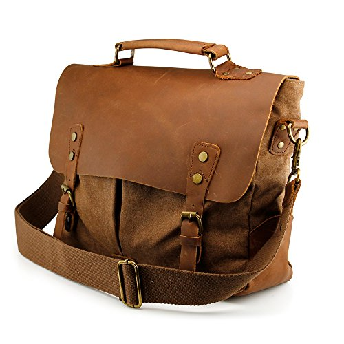 GEARONIC TM Men's Vintage Canvas Leather Messenger Bag Satchel School Military Shoulder Travel Bag for Notebook Laptop Macbook 11 and 13 inch Air Pro- Brown (Vintage Mail Bag compare prices)