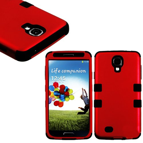 myLife (TM) Red and Black  Smooth Color Design (3 Piece Hybrid) Hard and Soft Case for the Samsung Galaxy S4