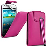 Samsung Galaxy Fame S6810 Pink PU Leather Flip Case Cover + Screen Protector + Polishing Cloth & Touch Screen Stylus By Connect Zone�