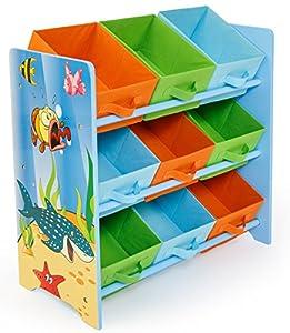 Meuble de rangement pour enfant avec 9 bac de stockage - Meuble de rangement avec bac ...
