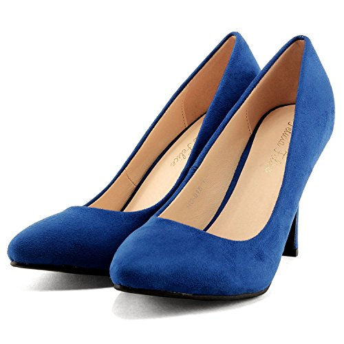 (フェリシア フェリーチェ)Felicia Felice アーモンドトゥパンプス 24.0cm ブルー青