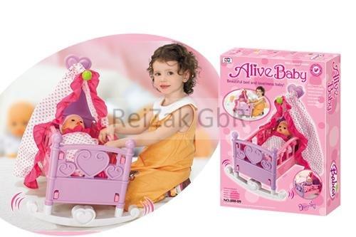 Puppenbett mit Himmel Puppenbettchen Puppenwiege