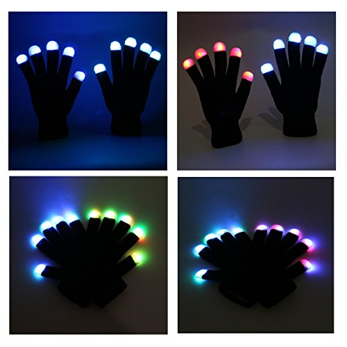 foxnovo neuheit 7 modus led handschuhe rave licht finger beleuchtung blinkt gl hend unisex. Black Bedroom Furniture Sets. Home Design Ideas