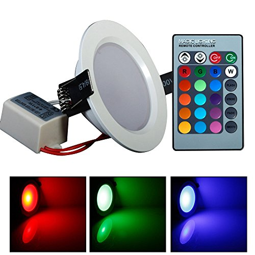 Lvjing Brand New Stylish Ultrathin 5W Rgb 24 Color Tube Lamps Led Ceiling Panel Down Light Lamps Round Shape With Remote Control (5Pcs)