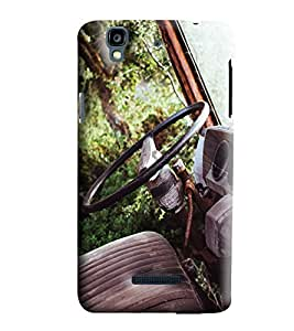 Blue Throat Old Car Steering Printed Designer Back Cover/Case For Micromax Yu Yureka