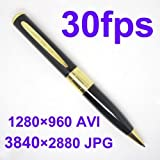 MINI HD Gold USB High Resolution Digital 1280x960 SPY DVR MICRO CAMERA DV CAM PEN 30fps Audio Video Recorder Support TF or Micro SD card up to 16GB