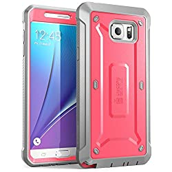 Samsung Galaxy Note 5 Case, SUPCASE [Heavy Duty] Belt Clip Holster Case for Galaxy Note 5 [Unicorn Beetle PRO Series] Full-body Rugged Cover with Built-in Screen Protector / Bumpers (Pink/Gray)