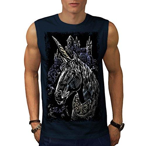 Unicorno Capo Castello Medievale Uomo Nuovo Navy T-Shirt Senza Maniche XXL | Wellcoda