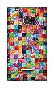 The Racoon Lean Colourful Quilt hard plastic printed back case / cover for Microsoft Lumia 435