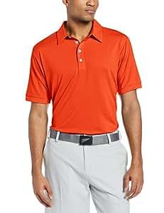adidas Golf Men's Climalite Microstripe Polo, Bahia Coral/White, Small