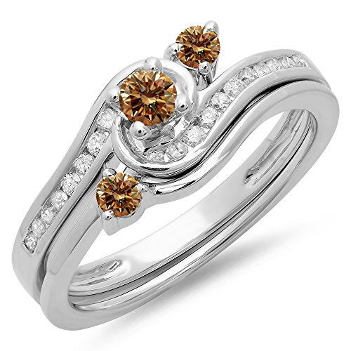 0.50 Carat (Ctw) 14K White Gold Champagne & White Diamond Twisted Engagement Ring Set 1/2 Ct (Size 6.5)
